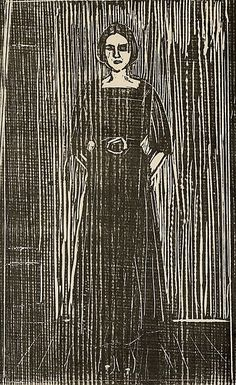 Edvard Munch: Women in black. Woodcut printed in black on a medium-thick gray-white. Paper signed in pencil lower right: Edv MunchPåtegnet in pencil lower left: Von ersten 30 Dr S. (translation from Norwegian) Willy Ronis, Alphonse Mucha, Karl Schmidt Rottluff, Amedeo Modigliani, Collagraph, Wood Engraving, Looks Cool, Woodblock Print, Art History