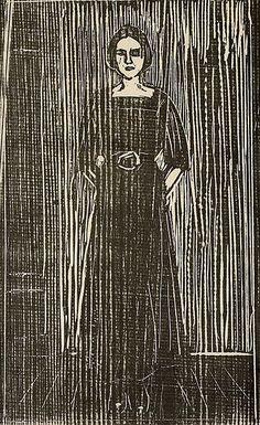 Edvard Munch (1863-1944), [Women in black. Woodcut printed in black on a medium-thick gray-white. Sheet: 649x489 mm Design: 550x342 mm. Paper signed in pencil lower right: Edv MunchPåtegnet in pencil lower left: Von ersten 30 Dr S. (translation from Norwegian)