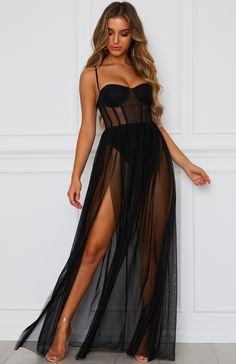 The Modern Muse Maxi Dress Black. Head online and shop this season's latest styles at White Fox. Express delivery and AfterPay available. Blush Formal Dresses, Grad Dresses Short, Formal Dresses Online, White Maxi Dresses, Sheer Dress, Strapless Dress Formal, Prom Dresses, Dress Black, Pageant Gowns
