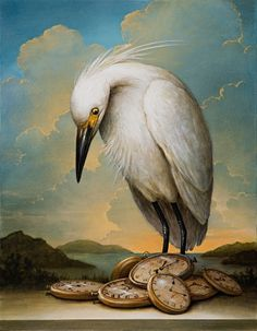 The Persistence of Memories, Kevin Sloan (I admire this work of art! - I discovered it today Illustrations, Illustration Art, Art Fantaisiste, Magic Realism, Pop Surrealism, Pablo Picasso, Whimsical Art, Surreal Art, Bird Art