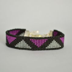 Bead Loom Bracelet Black and Magenta Beaded by WishWantDesire