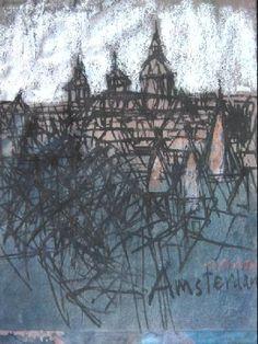Ono Tadashige (Japon, 1909-1990) – Amsterdam (ca 1960) Sumi et crayon sur papier brun