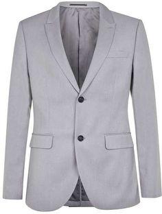 Light Blue Textured Slim Fit Suit Jacket