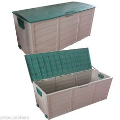 Garden Outdoor Plastic Storage Chest Shed Box Case Container With Lid Wheels