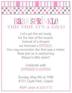103 best irish baby shower images on pinterest baby shower themes baby sprinkle shower invitation for a girl in pink and gray with modern dots and stripes filmwisefo