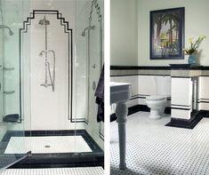 Salle de bain art Déco en noire et blanc