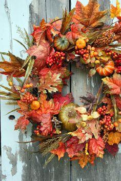 Fall Wreath, Fall leaves, Pumpkins, Berries, Grasses, via Etsy.