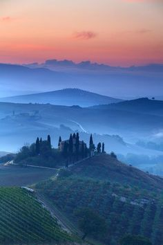 Italy's Val D'Orcia at sunrise.