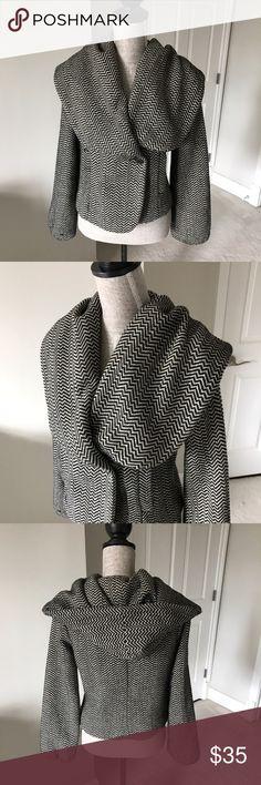 Herringbone shawl collar hooded jacket Herringbone shawl collar hooded jacket with button closure. Jackets & Coats