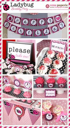 Pink Lady Bug Birthday Party Package Personalized by venspaperie