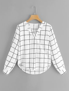 Casual Plaid Top Regular Fit V neck Long Sleeve Pullovers Black and White Regular Length Grid V Neck Dip Curved Hem Top Ropa Interior Calvin, Black And White Style, White Casual, Elegantes Outfit, Spring Shirts, Spring Blouses, Asymmetrical Tops, Types Of Shirts, Ideias Fashion