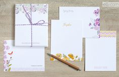 Personalized stationery in spring colors.