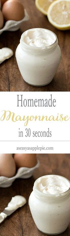 Homemade Mayonnaise In 30 SECONDS. For this easy recipe you only need: 5 ingredients, an immersion blender and a jar!