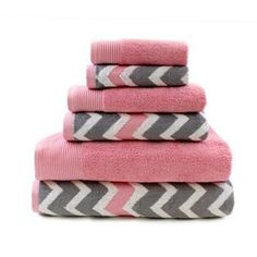Pacific Coast Textiles 6-piece Egyptian Cotton Yarn-Dyed Chevron & Solid Mix & Match Towel Set