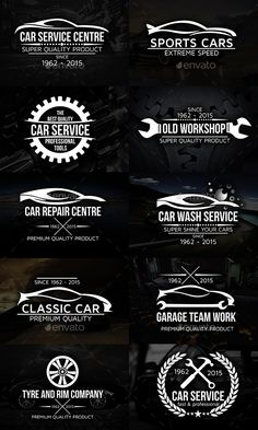 Cars Logos Badges Set — Vector EPS #repair #engine • Available here → https://graphicriver.net/item/cars-logos-badges-set/12433991?ref=pxcr