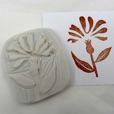 Hand carved corn flower stamp by robruhn on Etsy, $15.00