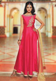 Buy Embroidered Art Silk Abaya Style Suit in Fuchsia online,Item code: KBZ171, Occasion: Party, Type: Abaya Style Suits, Work: Contemporary, Mirror Work, Resham, Stone Work, Fabric: Art Silk, Gender: Women