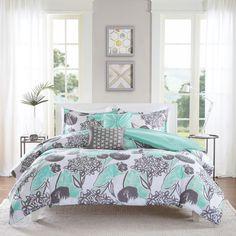 Beach House Bedding Set Floral Comforter Full Queen Size Aqua Bright Pillows New #IntelligentDesign #Tropical