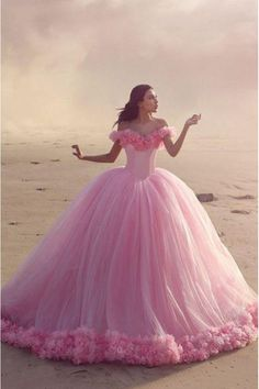 Glamorous Off-the-shoulder Ball Gown Pink Wedding Dress With Flower TN0028