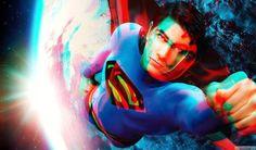 Imagen en 3D anaglifo de Superman volando por el espacio → ConvertImage.ME
