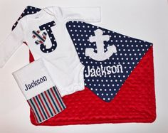 PERSONALIZED Nautical Set  Anchor Minky by firstcrushdesigns, $50.00
