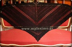 crochet black shawl, from mpleximo.gr