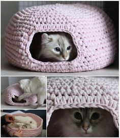 DIY Crochet Cat Cave - Vita Subačius - DIY Crochet Cat Cave Do you want to make a great hiding place for your cat? Try to crochet this cat cave. It's easy (even for beginner) to crochet and will defin. Crochet Diy, Chat Crochet, Crochet Mignon, Crochet Cat Pattern, Crochet Gratis, Crochet Amigurumi, Free Pattern, Crochet Ideas, Funny Crochet