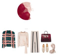 """""""Red Moon"""" by iriadna ❤ liked on Polyvore featuring Acne Studios, Shrimps, The Row, Lanvin, Holly's House, Mark & Graham, Anya Hindmarch, plaid, neutrals and fauxfur"""