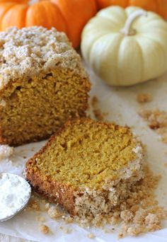 Crumbly Pumpkin Bread - With whole wheat pastry flour, coconut oil and applesauce, this can be eaten guilt-free!