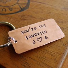 You're My Favorite Keychain, Couples Initials with Heart, Custom Made, Hand Stamped, Hammered Copper, 7 year Anniversary Gift, Valentines