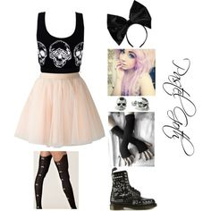 A fashion look from May 2014 featuring Moschino skirts, Sneaky Fox tights and Dr. Martens ankle booties. Browse and shop related looks.