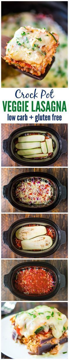 Delicious Crock Pot Low Carb Lasagna made with zucchini and eggplant instead of pasta — Less than 275 calories for a HUGE, cheesy serving! Healthy, gluten free, and your slow cooker does all the work. You won't miss the nood