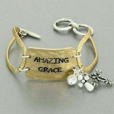 Amazing Grace Bracelet Beautifully made, gold hammered plate.  T-Closure. Dangle charms. Very unique and trendy! Jewelry Bracelets