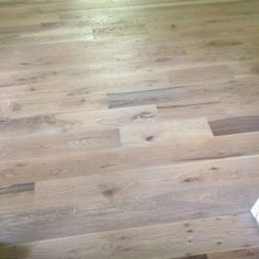 We came up with the winning stain combination at All Minwax - Country White, Classic Gray, Weathered Oak. - on white oak floors Hardwood Floor Colors, Oak Hardwood Flooring, Engineered Hardwood, Oak Floor Stains, Red Oak Floors, Oak Stain, Grey Stain, Up House, Farm House