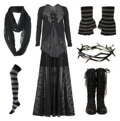 Black and Grey #1 by grimoire-grotto on Polyvore featuring AllSaints, DKNY, Forever 21 and Therapy