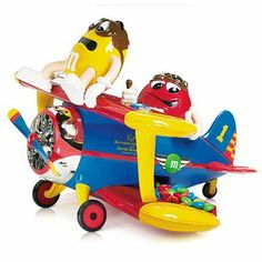 M&M Toy Airplane Candy Dispenser AKA Barnstorming Airplane rides with character Red as pilot & character Yellow as passenger Customized Gifts, Personalized Gifts, Yellow M&m, M&m Characters, M & M Chocolate, M Craft, Airplane Toys, Candy Dispenser, Red And Blue