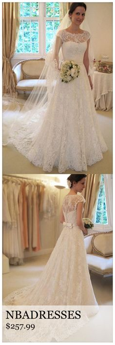 Scoop Neck Short Sleeve A-Line Lace Wedding Dress