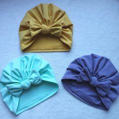 Bow Turban Hat Beanie Pattern 3 months through ladies Instant Baby Turban, Turban Hut, Turban Headbands, Sewing Patterns Girls, Girl Dress Patterns, Baby Patterns, Romper Pattern, Beanie Pattern, Easy Girls Dress