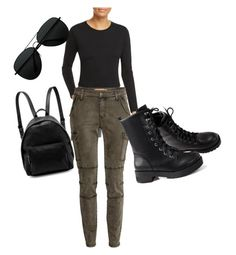 """cargo pants, Black combat boots, Black crop"" by demonika02 on Polyvore featuring J Brand and STELLA McCARTNEY"