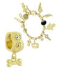 Berloque folheado a ouro em forma de cachorro (Pandora inspired)