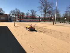 Walk Behind Beach Cleaner Barracuda, intensively sifts out beach debris without leaving tire tracks in sand. For Beaches, Golf Bunkers, Volleyball Courts. Tire Tracks, Clean Beach, Walk Behind, Volleyball, Outdoor Spaces, Organization, Easy, Outdoor Living Spaces, Getting Organized