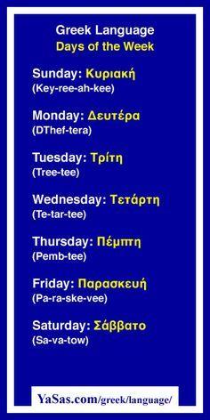 Greek Language Days of the Week: Sunday Monday Tuesday Wednesday Thursday Friday Saturday at Greek Phrases, Tuesday Wednesday, Monday Tuesday, Greek Alphabet, Egyptian Alphabet, Greek Girl, Greek Culture, Greek Isles, Greek Mythology