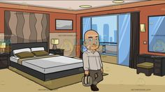 A Bald Man With A Bag At A Modern Hotel Room :  A bald man wearing a white dress shirt light gray pants and brown shoes slightly smirks while holding a white bag with brown handle in his right hand left leg crossed over his right. Set in a modern hotel room with balcony overlooking a cityscape walls painted in orange sliding doors with a dark brown curtain dark gray bed frame white mattress and olive green pillows vanity mirror table and stool as well as a bedside table with lamps.