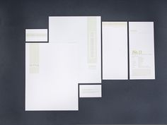 Logo and branding for the New York Food Museum. Stationery set includes a new envelope each month. Each month the envelope had a new recipe on the back of it.
