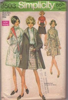 Simplicity 8503 Vintage 60's Sewing Pattern MARVELOUS Mod Couture Reversible Faux Fur Coat, Jacket, Huge Nehru Collar, Raglan Sleeves & Mini A-Line Skirt