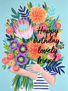 Happy Birthday Lovely Friend, Happy Birthday Greetings Friends, Cute Happy Birthday, Birthday Cheers, Happy Birthday Flower, Birthday Card Sayings, Happy Birthday Pictures, Happy Birthday Messages, Happy Birthday Illustration