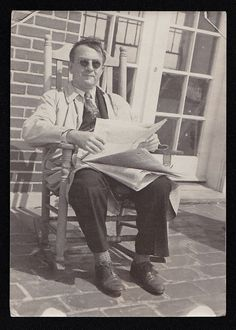 Old Vintage Antique Photograph Man Wearing Sunglasses & Reading Newspaper