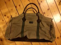 Vintage LL Bean Super Duffle Canvas Leather 1934 Archive Signature Duffel bag
