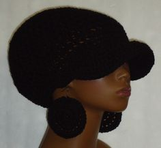 Black Medium Brimmed Crochet Cap Hat with Disc Earrings Dreadlocks Razonda Lee Razondalee Made to Order