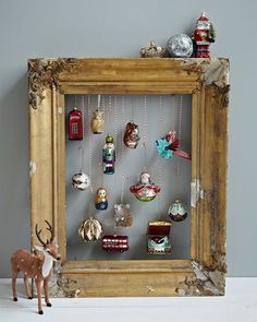 I love this idea for displaying vintage ornaments!